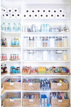 Love the mix of bins, baskets, and clear containers here Home Decor / Decorating / Dream Home / Farmhouse Decor / Farmhouse Inspiration / Pantry Organization / Pantry Inspiration Kitchen Organization Pantry, Home Organisation, Pantry Storage, Organization Hacks, Organized Pantry, Diy Storage, Pantry Inspiration, Kitchen Pantry Design, The Home Edit