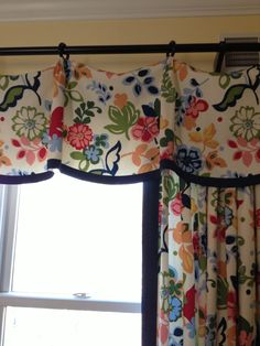Pinch Pleat Valance, vibrant floral fabric with navy tape trim, casual elegant window treatments, drapes