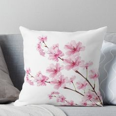 'Sakura Cherry Blossom' Throw Pillow by <br> Light-hearted Japanese cherry blossom tree branch design. Cherry Blossom Bedroom, Cherry Blossom Decor, Cherry Blossom Painting, Sakura Cherry Blossom, Blossom Trees, Japanese Cherry Blossoms, Hand Painted Dress, Painted Clothes, Japanese Flowers