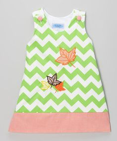 Another great find on #zulily! Green & White Zigzag Leaf Jumper Dress - Infant & Toddler #zulilyfinds