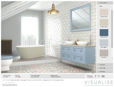 Design your Dream Bathroom Wall And Floor Tiles, Bathroom Colors, Spring Colors, Double Vanity, Color Mixing, Dreaming Of You, Layout, Bathrooms, Furniture