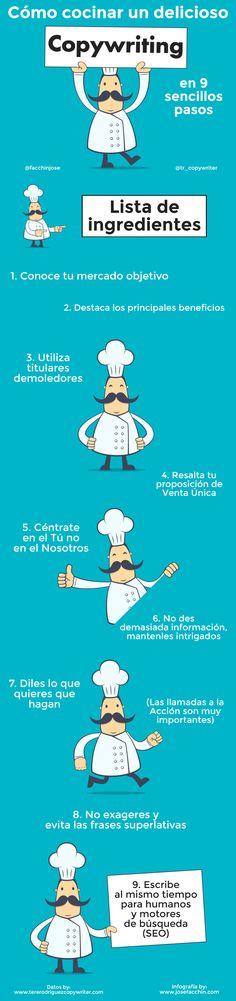 Cómo cocinar un delicioso Copywriting en 9 pasos #infografia #infographic #marketing