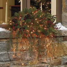 Christmas window swag - so pretty For my window box ? Christmas Window Boxes, Christmas Swags, Christmas Catalogs, Primitive Christmas, Country Christmas, Outdoor Christmas, Winter Christmas, Christmas Lights, Christmas Time