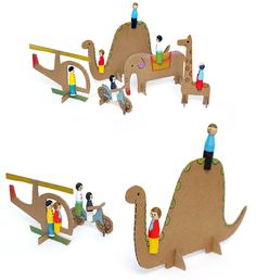Peg dolls and cardboard dinosaurs