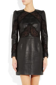 Lots of leather on the fall runways - love this leather & lace dress by Valentino
