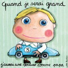 """Tableau d'Isabelle Kessedjian """"Quand je serai grand, j'aurai une voiture comme papa"""" - Le Coin des Créateurs"""