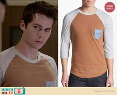 Stiles's tan baseball tee with striped pocket on Teen Wolf. Outfit Details: http://wornontv.net/36360/ #TeenWolf