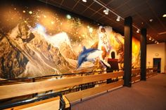 Wall wrap in the Imax lobby at the Denver Museum of Nature and Science