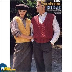 Ladies mens chunky waistcoat/ top knitting pattern womens Sunbeam patterns 1357 on eBid United Kingdom