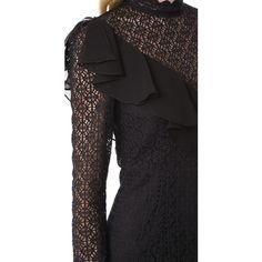 Temperley London Prairie Lace Ruffle Dress (560 AUD) ❤ liked on Polyvore featuring dresses, black, ruffle dress, sheer dress, long sleeve ruffle dress, embellished dress and transparent dress