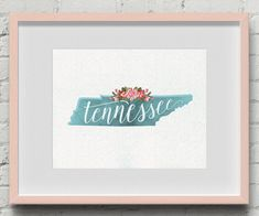 Printable Floral Watercolor Tennessee // Nashville by Design615