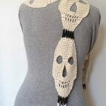 crochet DIY skeleton skulls scarf ...halloween... or not! crafts