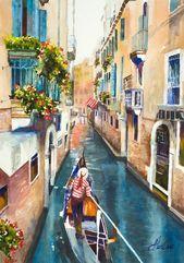 Aquarelle De Venise Le Gondolier Art Italien Art Europeen