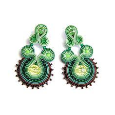 Soutache earrings green brown jewelry handmade shop gift for sale to buy orecchini pendientes oorbellen Ohrringe brincos örhängen by SoutacheFlowOn on Etsy
