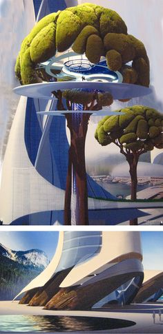 Official concept illustrations showing the integration of giant trees and buildings in the movie Tomorrowland. Unknown concept illustrator, but probably Jonathan Bach.