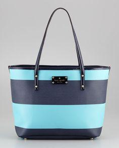 Boutique striped small harmon bag, iceberg - Neiman Marcus