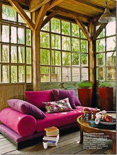 pink velvet couch, windows