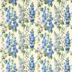 Hollyhocks Fabric Hollyhocks on a cream background. This fabric is based on an archive document from 1937. It is digitally printed to best capture the array of colours.