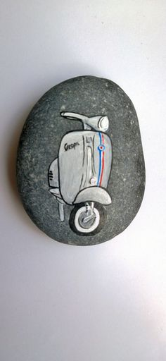 Vespa motorcycle painted pabble by FlubberDinkumArts on Etsy, £4.50
