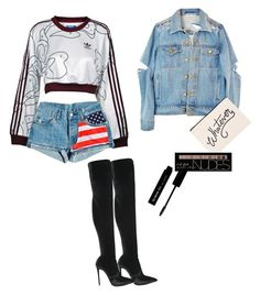 """This is clothes"" by mone-blopes ❤ liked on Polyvore featuring Le Silla, adidas, ALPHABET BAGS, Charlotte Russe and The BrowGal"