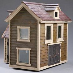 Dollhouse | American Wood Shingled & Sided 2-Story Rear Addition Dollhouse Toys, Vintage Dollhouse, Dollhouse Furniture, Fairy Houses, Doll Houses, Miniature Houses, Miniature Dollhouse, Shingle Siding, Saltbox Houses