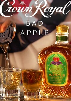 Make St. Patrick proud by trying a Regal Apple shot with a kick of cinnamon whisky–the Crown Royal Bad Apple. To make this uniquely delicious shot, add 1 oz Crown Royal Regal Apple and oz cinnamon whisky to an ice-filled mixing glass. Shake, strain in Bar Drinks, Cocktail Drinks, Yummy Drinks, Alcoholic Drinks, Cocktail Recipes, Drink Recipes, Apple Cocktails, Fireball Drinks, Bourbon Drinks