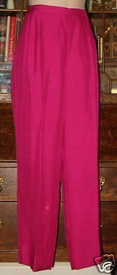 ANN MAY SILK ANKLE PANT NWT MAGENTA PINK 14