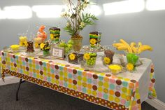 Candy buffet for my daughter's baby shower, Jungle Safari theme.