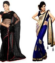 Buy black and blue embroidered chiffon saree with blouse sarees-combo-sari online