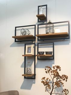 A blank wall is like a canvas! Create any pattern out of these metal frame shelves. Can be customised in any colour. DM for details or call us at Also, DM for collaborations. Interior Design Living Room, Living Room Decor, Interior Decorating, Bedroom Decor, Wall Decor, Interior Livingroom, Steel Furniture, Diy Furniture, Furniture Design
