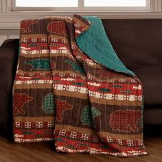Finely Stitched Cabin Lodge Rustic Throw Blanket Bear Printed Decorative Pattern Reversible Lightweight Couch Sofa - Includes Bed Sheet Straps