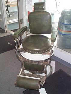 1950's barber chair | 499: signed Koken 1950's Barber shop barber's chair in