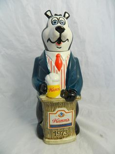 """Hamms Beer Bottle 11"""" Decanter 1973 Figural Bear Mascot  Sold for $63 and $100"""