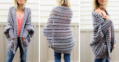 Learn how to crochet the free Dwell Sweater pattern in this video tutorial. This is a fantastic beginner sweater pattern because there is zero shaping! Chunky Crochet, Crochet Cardigan, Crochet Scarves, Crochet Shawl, Diy Crochet, Crochet Crafts, Crochet Clothes, Crochet Stitches, Crochet Hooks