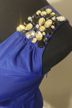 Forever 21 Cobalt Blue one shoulder Sparkly Bling Rhinestone Cocktail dress sz S #Forever21 #OneShoulder #Cocktail