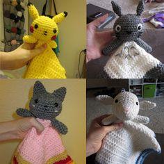 Lovey Pattern Bundle Pack - Pikachu, Totoro, Nyan Cat and Lamby Crochet Lovey, Crochet Quilt, Diy Crochet, Crochet Crafts, Crochet Projects, Crochet Ideas, Yarn Projects, Crochet Blankets, Crochet Dolls