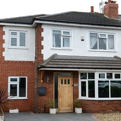 Classic house used as basis for modern refit in door, driveway and Windows. Looks like nice side extension all under a new roof and facias. 1930s House Extension, Porch Extension, House Extension Plans, Extension Ideas, Side Extension, Extension Google, Style At Home, 1930s Semi Detached House, 1930s House Interior