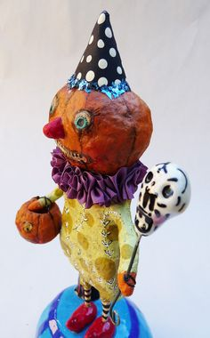Halloween Spun Cotton Figure on Ceramic base Collaboration by Sharon Bloom Designs & C. Phelps Designs