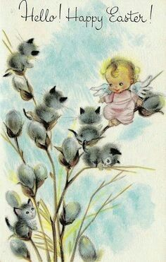 Angel with pussy willows