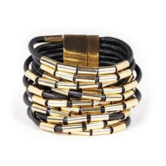 Women's Black Gold 14k Gold Plated Brass Metal And Cord Layered Bracelet by Sole Society