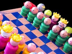 Vintage Fisher Price Little People Chess Set. This is DIY with vintage Little People from random sets. for @Lori Murphy