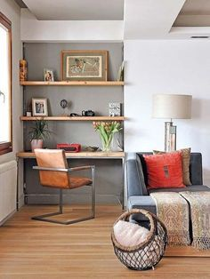 A classic search for this very intelligent desk nook in a nook of the lounge Contemporary Apartment, Living Room Office, Home Office Design, Home And Living, Desk Design, Home Decor, House Interior, Rustic Style Furniture, Home Deco