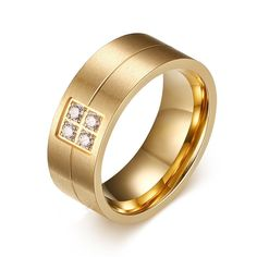 Engagement & Wedding Bridal & Wedding Party Jewelry Precise Titanium Grooved Yellow Plated Ladies 6mm Brushed Wedding Ring Band Size 12.00