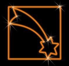 LED dekorácia - oranžová kométa vo štvorci - 600mm