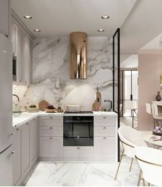 10 Cozinhas em Cinza, Branco e Dourado para te Inspirar – Letícia Granero Interiores Luxury Kitchen Design, Home Interior Design, Interior Design Kitchen, Luxury Kitchens, Kitchen Design Decor, Neoclassical Interior, House Interior, Home Kitchens, Home