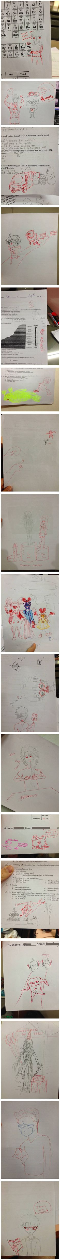 Teacher Adds His Own Doodles To The Doodles His Students Make On Their Papers.