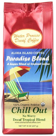 Aloha Island Coffee Chill Out, No Worry Decaf Certified Organic Coffee, Ground, 8-ounce Packages (Pack of 2) >>> You can find out more details at the link of the image. (This is an affiliate link and I receive a commission for the sales)