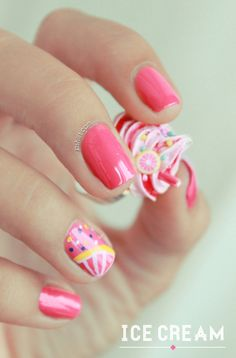 Ice cream nails adorable!