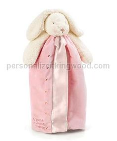 """Buddy Blanket - Pink. Babies just LOVE our buddy blankets, so your best bet is to buy them by the bunch! Plush floppy eared bunny has snuggly soft pink velour blanket, lined and edged in silky satin. Embroidered message reads, """"Best Friends Indeed"""". Washes beautifully, machine wash and tumble dry. Size: 16""""."""