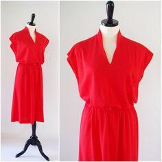 Red Knit Dress by Studio 36, Vintage 1980s Sleeveless Jersey Knit Dress with Elastic Belt, Size L